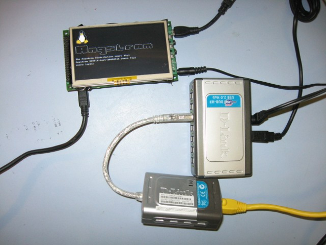 Typical USB-Ethernet connection through a USB hub.