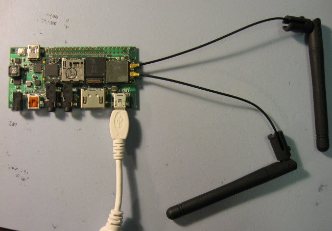 WIFI and BT antennas connected to Overo module